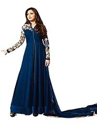 Jheenu Woman's navy blue Embroidered Georgette Unstiched Salwar suit dress materials