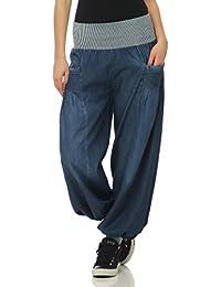 Malito Mujer Pantalones Bombacho Mezclilla Pantalones Anchos Talla Única  6258 36f11fbd06a6