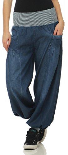 Malito Damen Pumphose im Denim Style | perfekte Jeans zum Tanzen | Aladinhose zum Chillen | Haremshose - Goa 6258 (blau)