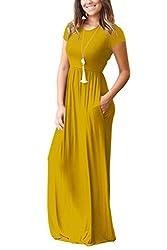 Measoul Women Short Sleeve Loose Plain Maxi Dress Casual Long Dress with Pockets