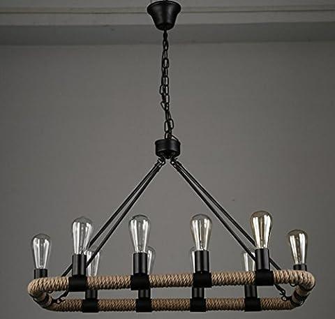 GFFORT lustre en corde de chanvre rectangulaire pays d'Amérique bar rétro restaurant créatif vent d'industrie légère lampes en fer forgé,