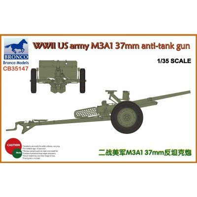 Bronco Models CB35147 - Modellbausatz WWII US Army M3A1 37 mm Anti-Tank Gun (Us-militär-tank)