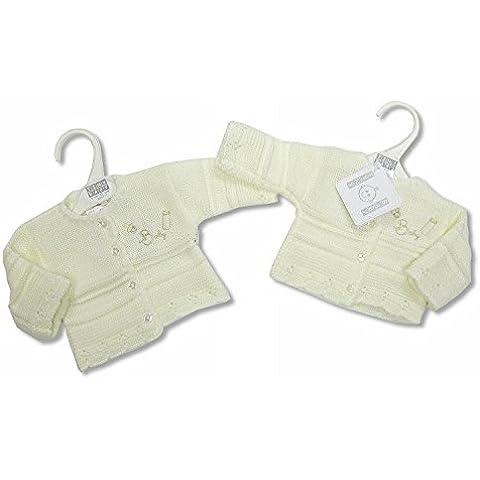 Prematuro Bebé de punto Cardigan 3–5libras (1.4–2.3kg), color crema
