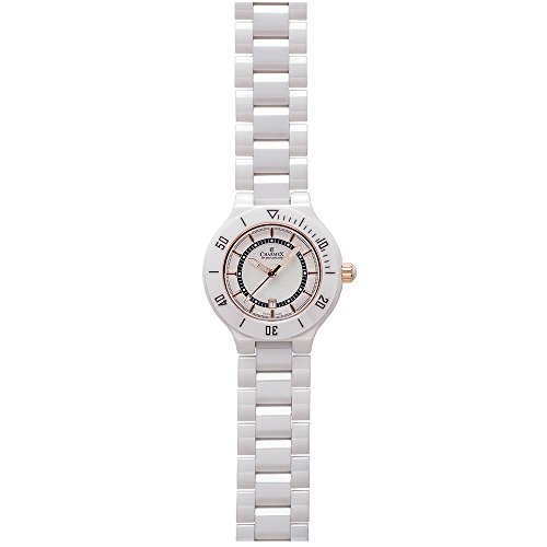 CHARMEX SAN REMO 6315 LADIES WHITE CERAMIC 35MM CERAMIC CASE DATE QUARTZ WATCH