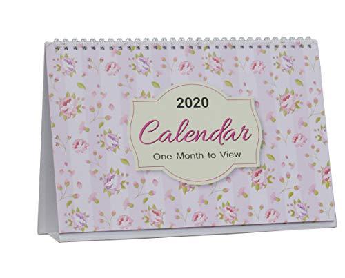 Arpan 2019-2020 - Calendario da tavolo per ufficio, con visualizzazione mensile, motivo: foglie floreali