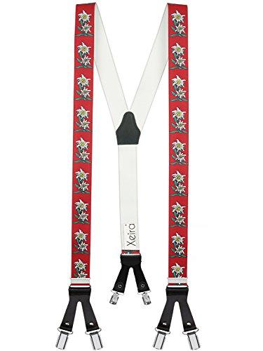 Xeira bretelle y-shape uomo e donna con 6 robuste clip e cinturini in pelle - made in germany (standard, stella alpina - rosso)