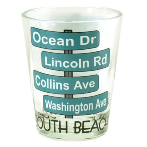 South Beach Florida Street Signs Shot Glass by World By Shotglass (Street Sign Florida)