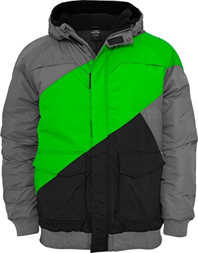 Urban Classics Herren Zig Zag Fastlane Jacke grey/limegreen/black