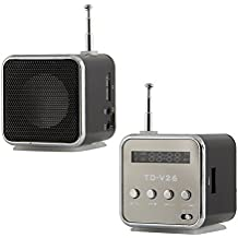 BlueBeach® TD-V26 Mini altavoz digital portátil con micro SD, TF, USB mini altavoz reproductor de música portátil de radio FM estéreo MP3 de la PC. LED - conveniente para el teléfono / ordenador portátil / PC / MP3 / iPod / iPhone / iPad / Samsung / Galaxy / Nokia / LG (NEGRO)