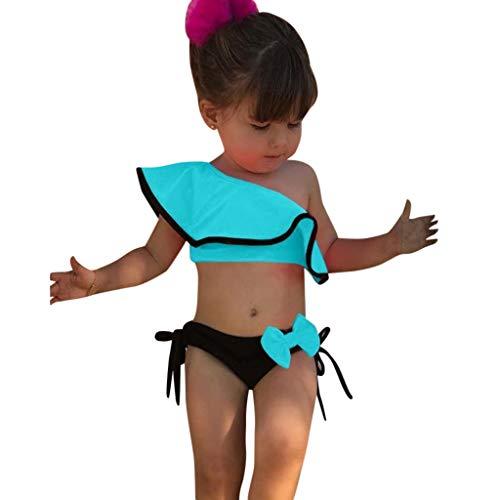 VECDY Bañador Bebe Niña, 2 Piezas Traje De Baño Moda Monokini Sin Tirantes Sólido con Volantes Dividir Natación Verano Tops Pantalones Cortos Monokini Bañador 2019 Brasileño Bikini (Azul,90)