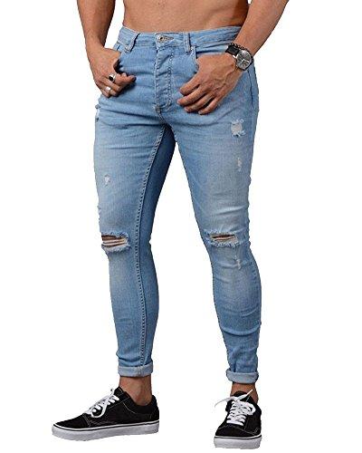 Jeans Strappati Ginocchia Uomo Skinny Elasticizzati Pantaloni Casual Slim Fit Azzurro Chiaro S