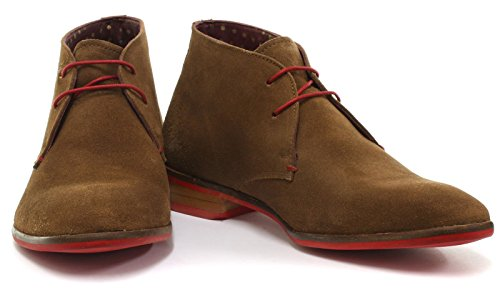 London Brogue richelieus Croxley Homme Chukka Bottes Tan Suede/Red Sole