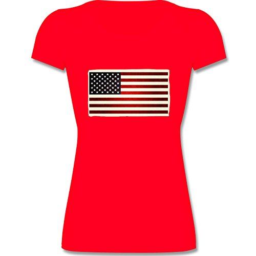 Shirtracer Städte & Länder Kind - Flagge USA - 140 (9-11 Jahre) - Rot - F288K - Mädchen T-Shirt (Land-flaggen-t-shirt)