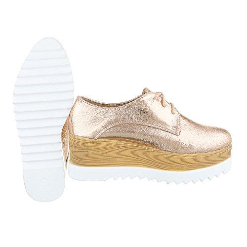 Ital-Design Schnürer Damenschuhe Schnürer Schnürer Schnürsenkel Halbschuhe Rosa Gold