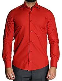 Muga chemise manches longues, ajustée, Rouge