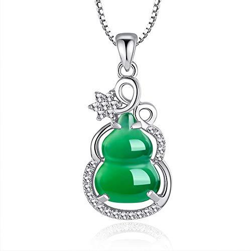 LJJY Damen Geschenk versilbert grün Chalcedon Kürbis Anhänger einfache Mode Persönlichkeit Damen Diamant grün Achat Kürbis Schmuck Geburtstag Jubiläum