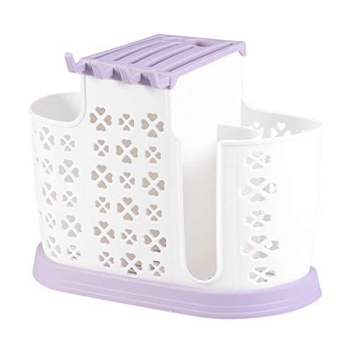 BESTONZON - Organizador de utensilios de cocina (plástico, multifuncional, para palillos, cucharas, color morado)