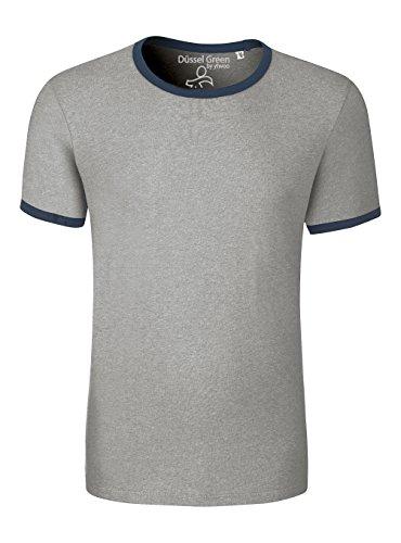 Herren T-Shirt Aus 100% Bio-Baumwolle mit Rundhalsausschnitt. Kurzarm Shirt mit Einfassung in Kontrastfarben, Herren Bio T-Shirt, Herren Bio T Shirt, Herren Bio Shirt, Herren T Shirt Biobaumwolle Heather Grey/ Navy
