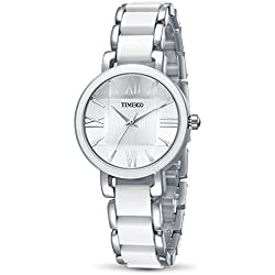Time100 Fashional Ladies' Multifunctional Ceramic Strap Silver Waterproof Bracelet Quartz Watch#W50190L.01A