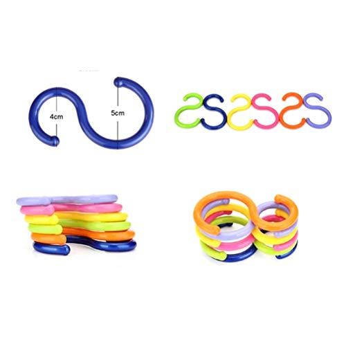 FADACAI 6 Stücke S-Form Kunststoff Aufhänger Haken Bad Handtuchhalter Kleidung Kinderwagen Haken, zufällige Farben