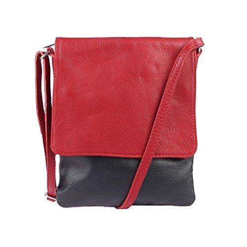 OBC Made in Italy Borsa in Pelle Borsa A Tracolla Borsa di gioielli CrossOver Borsa in Pelle Nappa Vera Pelle iPad Mini Tablet 7'' - nero rosso, 18x22 cm ( BXA ) nero rosso