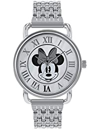Minnie Mouse Reloj Analógico para Mujer de Cuarzo con Correa en Acero Inoxidable MN8005