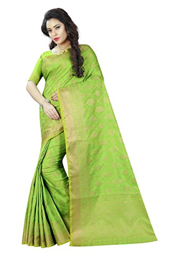 Vrati Fashion Women's Banarasi Silk Orange Saree With Blouse Piece(BB-PATOLA-ORANGE)