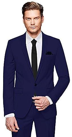 CRIXUS Herren Anzug Fine Satin - 3 teilig - Marineblau Blau Smoking Hochzeit Feier Business CS_3 (56)
