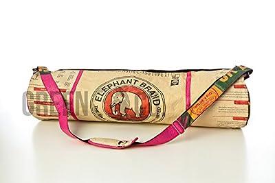 Yoga-Matten-Tasche mit Trageriemen, aus recyceltem Zement-Taschen, Upcycled, Handgefertigt in Kambodscha, Elefant Design - Rot / Weiß