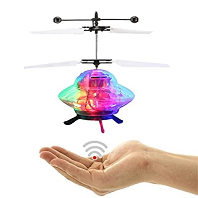 SHOBDW Induction Aircraft, 1PC Hand Flying UFO Ball LED Mini Induction Suspension RC Aircraft Flying Toy Drone Kids Gifts
