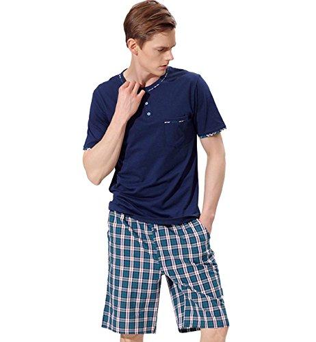 6db06d44d8 Surenow Conjunto de Pijama Camiseta y Pantalones Cortos de Pijama para  Hombre de Algodón para Casa Hogar Dormir para Primavera Verano Otoño