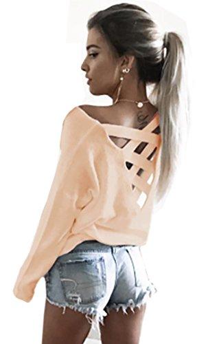 Damen Langarmshirt T-Shirt Kleid Lose Bluse (653)(S/M, Rosa)
