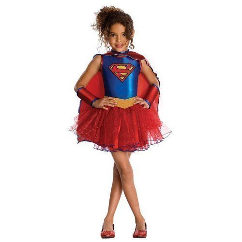 fiziell Lizenziert Supergirl Superheld Tutu Held Büchertag Halloween Kostüm Kleid Outfit - Blau, 5-7 Years (Superhelden-kostüme Für Halloween)