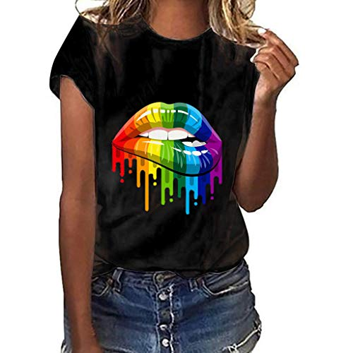hirts Tops Kurze Ärmel 2019 Frühling Sommer Elegant Bluse Daily Basics Party Bluse Oberteile T-Shirt Kurzärmliges T-Shirt mit Lippendruck/Black,XL ()
