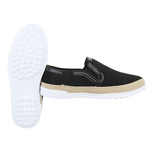 Slipper Damenschuhe Low-Top Stretch Ital-Design Halbschuhe Schwarz
