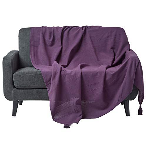 Lila Einzelbett (Homescapes Tagesdecke / Sofaüberwurf / Plaid Rajput in Lila - 225 x 255 cm - handgewebt aus 100% reiner Baumwolle in Ripp-Optik)