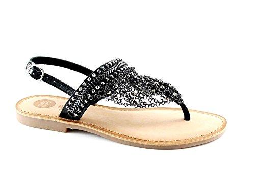 GIOSEPPO MYRNA 39850 black sandali donna nero strass perline cuoio Nero