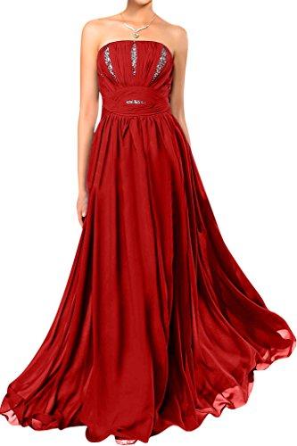 Gorgeous Bride Modern Traegerlos Empire Chiffon Lang Festkleider Abendkleider Ballkleider Rot