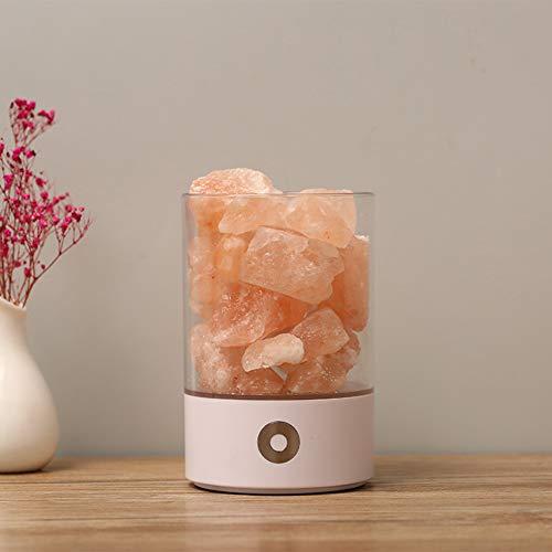 YAYONG Natural anión Cristal Sal lámpara Limpia Aire Regalo iluminación USB Noche luz LED Luces de Noche,White