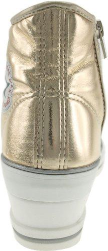 Maxstar 7 trous zippé à chaussures à talon compensé Sneakers Or - TC-Gold