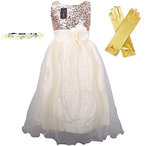 Hochzeit Kleid für Kinder Mädchen mit Handschuhen und Haarband - Tyidalin Festlich Pailleten Tüll Abendkleid Party Prinzessin Kleider Blumenmädchen, Creme, Gr.110/116 (Blume Kleid Creme)