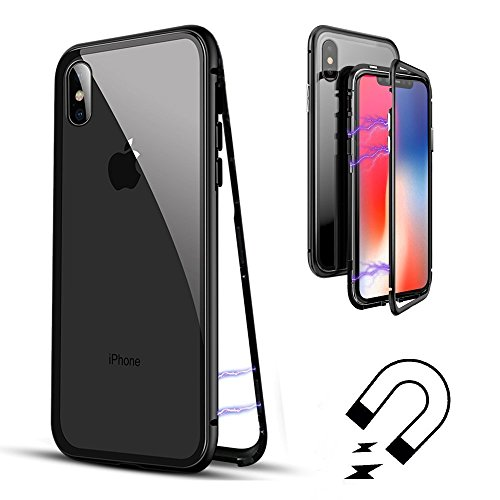 Cover iphone x, custodia in metallo temperato ultra sottile in lega di alluminio ad adsorbimento custodia in vetro temperato magnetica ad adsorbimento [supporto ricarica wireless] per iphone x (chiaro nero)