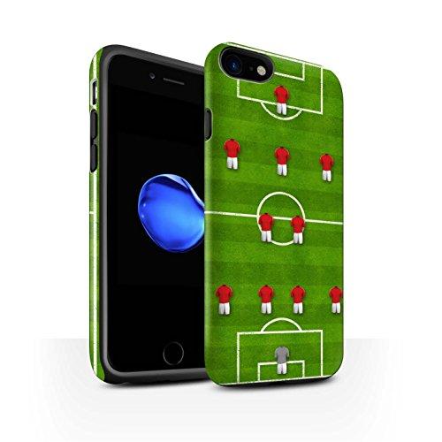 STUFF4 Matte Harten Stoßfest Hülle / Case für Apple iPhone 8 / Pack 9pcs / Fußball Bildung Kollektion 4-2-3-1/Rot