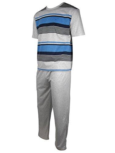 Herren Freizeit PJ Schlafanzüge Sets Nachtbekleidung PJ 2-teilig Pyjama Set Herren Größe M-XXL Mergel Grau / Blau (S/S Hose)