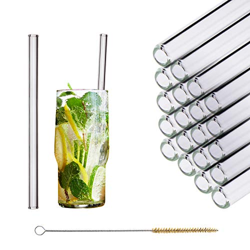 HALM Glas Strohhalme Wiederverwendbar Trinkhalm - 20 Stück gerade 20 cm + plastikfreie Reinigungsbürste - Spülmaschinenfest - Nachhaltig - Glastrinkhalme Glasstrohhalme für Long-Drinks, Smoothie