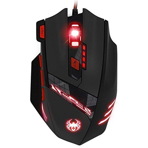 Souris Gamer Filaire, LIHAO Zelotes T90 Souris Gaming Optique avec 6 DPI Réglable 1000-9200DPI, 6 LED Couleur Options, 8 Boutons