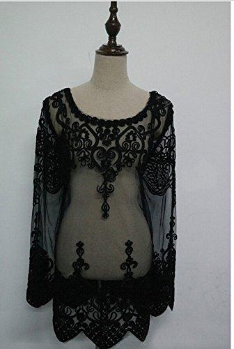 Smile YKK Femme Shirt Tops Dentelle Transparent Creux Manteau Noir