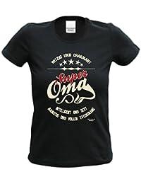 bequemes T-Shirt Frauen Damen Motiv Super Oma Geschenk-idee, Muttertag, Weihnachten kurzarm Outfit, Kostüm Farbe: schwarz
