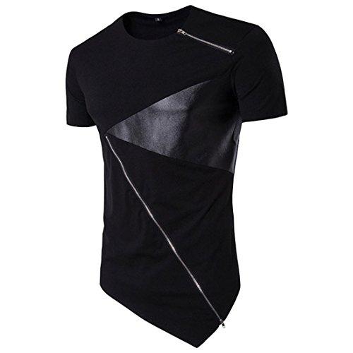 Herren T-Shirt Sommer Btruely Junge Irregulär Bluse Männer Kurzarm O-Neck Top Slim Fit Hemden (L, Schwarz) (Rucksack Damen Tall)