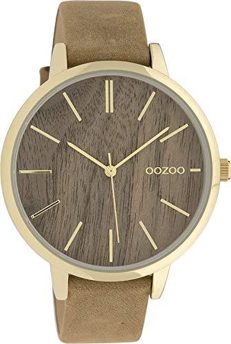Große Fashion Oozoo Damenuhr mit Holz Zifferblatt und Lederband in 42 MM